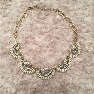 J Crew Art Deco Fan Jeweled Statement Necklace
